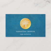 Elegant Blue Watercolor Tree Yoga and Meditation Business Card