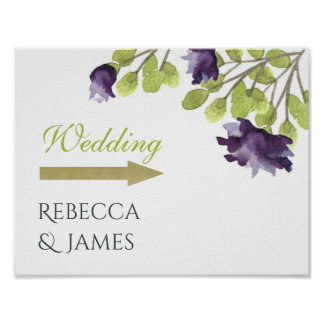 ELEGANT BLUE WATERCOLOUR FLORAL WEDDING DIRECTION POSTER