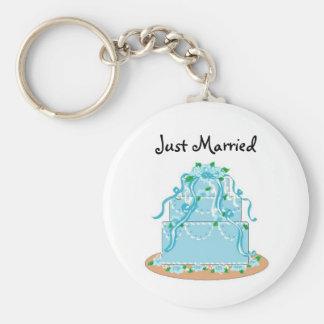 Elegant Blue Wedding Cake - Just Married Keychain