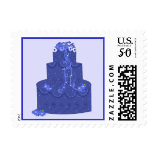 Elegant Blue Wedding Cake Postage