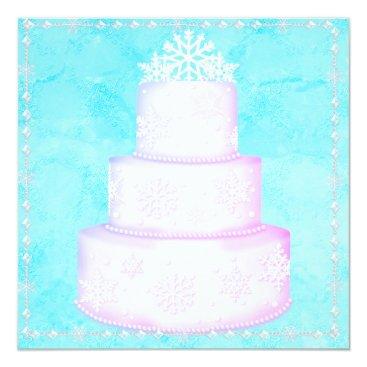 Bride Themed ELEGANT BLUE WEDDING CAKE TOPPER INVITATION