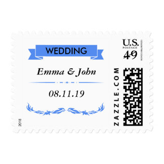 Elegant Blue Wedding Postage Stamp