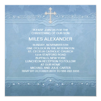 Elegant Blue White Baby Boy Christening Card