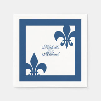 Elegant Blue White Fleur de Lis Wedding Paper Napkin