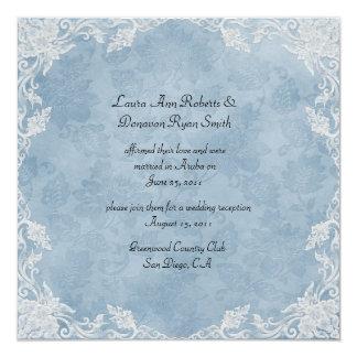 Elegant Blue White Floral Damask Post Wedding Custom Invites
