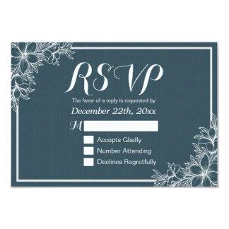 Elegant Blue White Floral Wedding RSVP Reply Card