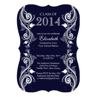 Elegant Blue White Graduation Party Invitation