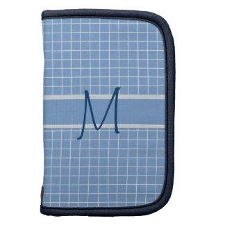 Elegant Blue White Pattern Monogram Sleeves Folio Planners