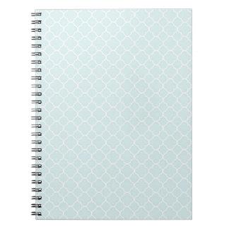 Elegant Blue White Quatrefoil Pattern Design Spiral Note Book