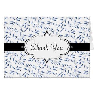 Elegant Blue Willow Leaf Pattern Card