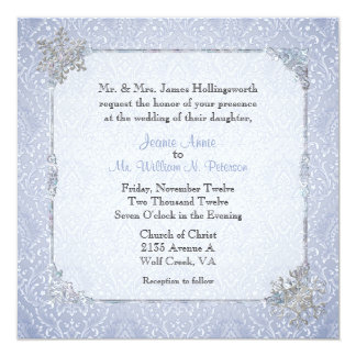 Elegant Blue Winter Snow Wedding Invitation