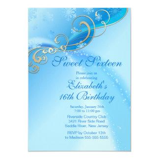 Elegant Blue Winter Sweet Sixteen Birthday Card