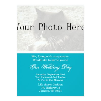 Elegant Blue Your Photo Wedding Invites