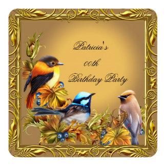 "Elegant Bluebird Bird Caramel Gold Birthday Party 5.25"" Square Invitation Card"