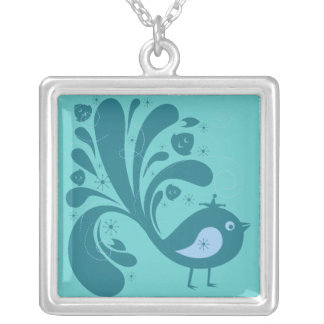 elegant bluebird square pendant necklace