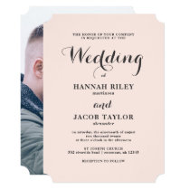 Elegant Blush and Gray Wedding Photo Invitation