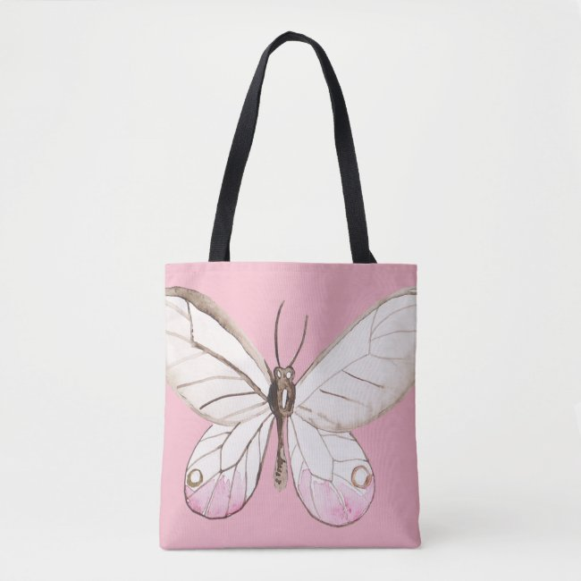 Elegant Blush Butterfly | Pink Tote Bag