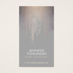 Elegant Blush Confetti Rain Pattern Gray Business Card at Zazzle
