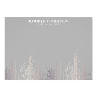 Elegant Blush Confetti Rain Pattern Gray Notecard
