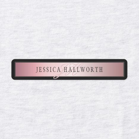 Elegant Blush Faux Rose Gold | Name & Initials Labels