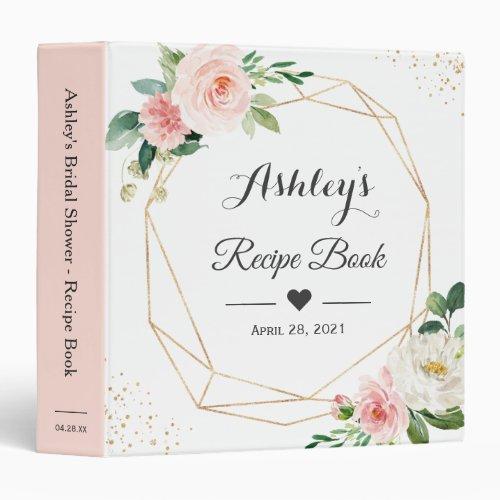 Elegant Blush Floral Bridal Shower Recipe Book 3 Ring Binder