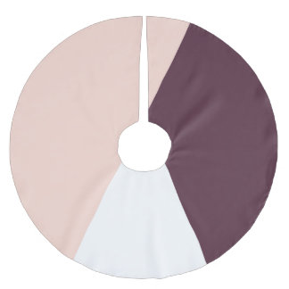 Elegant blush pink & burgundy geometric triangles brushed polyester tree skirt