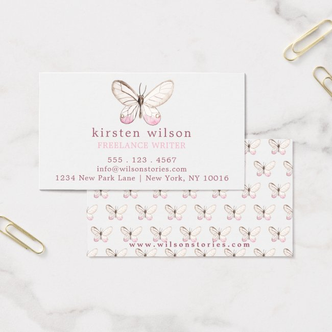 Elegant Blush Pink Butterfly Pattern Business Card