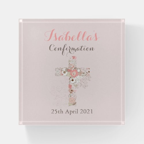 Elegant blush pink confirmation floral cross name paperweight