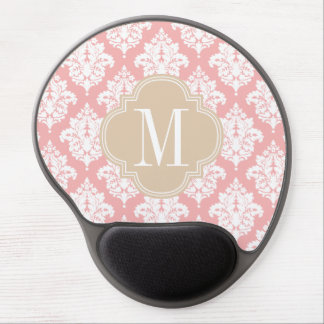 Elegant Blush Pink Damask Personalized Gel Mouse Pad