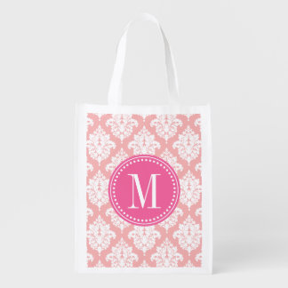 Elegant Blush Pink Damask Personalized Grocery Bags
