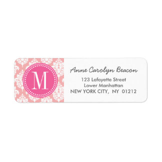 Elegant Blush Pink Damask Personalized Custom Return Address Label