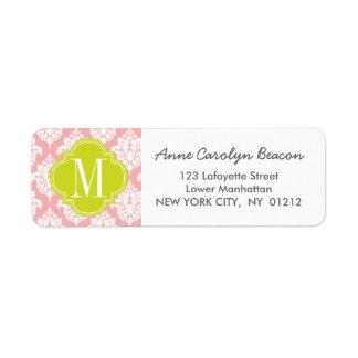 Elegant Blush Pink Damask Personalized Label