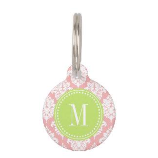 Elegant Blush Pink Damask Personalized Pet Name Tag