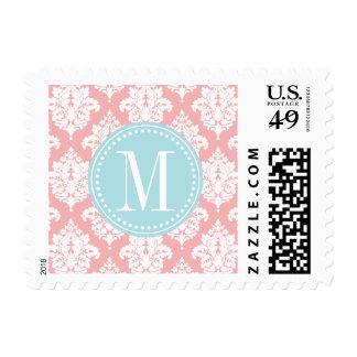 Elegant Blush Pink Damask Personalized Postage