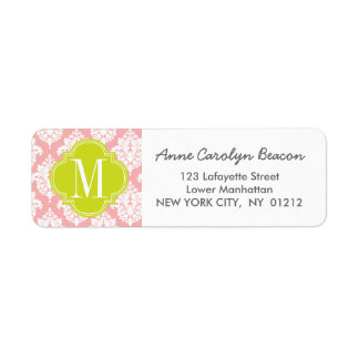 Elegant Blush Pink Damask Personalized Return Address Label