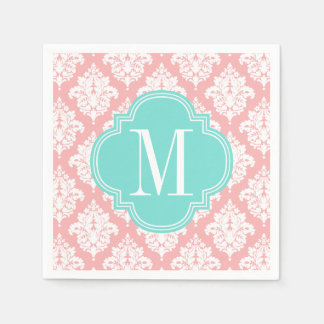 Elegant Blush Pink Damask Personalized Paper Napkins
