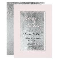 Elegant blush pink faux silver Baby Shower Invitation