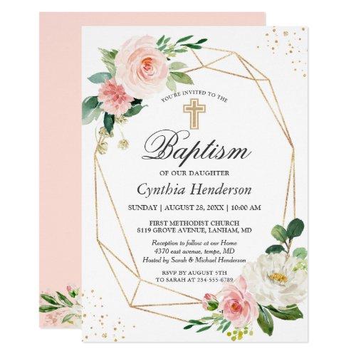 Elegant Blush Pink Floral Baptism  Christening Invitation