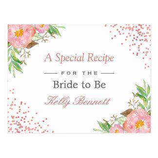 Elegant Blush Pink Floral Bridal Shower Recipe Postcard