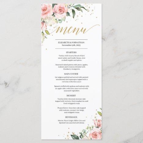 Elegant blush pink floral gold boho wedding menu