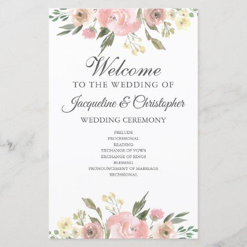 Elegant Blush Pink Floral Spring Wedding Program