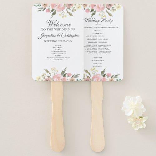 Elegant Blush Pink Floral Spring Wedding Program Hand Fan