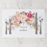 "Elegant Blush Pink Floral Watercolor Wedding Paper Placemat<br><div class=""desc"">Blush pink flowers elegant wedding place mats</div>"