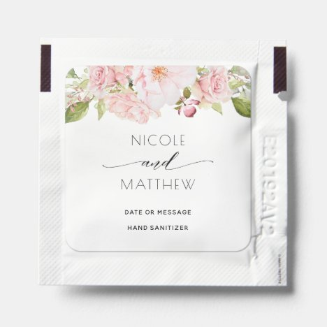 Elegant Blush Pink Floral, Wedding, Bridal Hand Sanitizer Packet