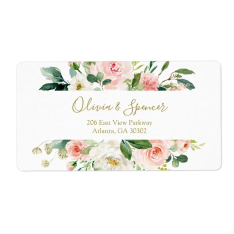 Elegant Blush Pink Floral Wedding Flowers Label