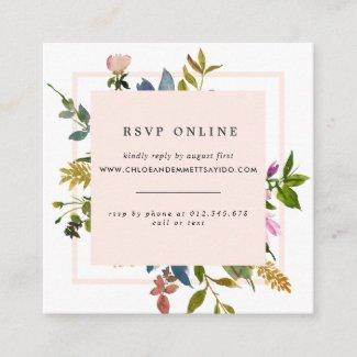 Elegant Blush Pink Floral Wedding Website RSVP Enclosure Card