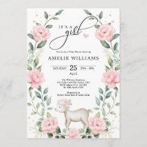 Elegant Blush Pink Flower Lamb Girl Baby Shower Invitation