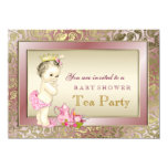 Elegant Blush Pink Girls Tea Party Baby Shower 4.5x6.25 Paper Invitation Card
