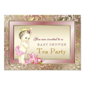 Elegant Blush Pink Girls Tea Party Baby Shower 4.5x6.25 Paper Invitation  Card