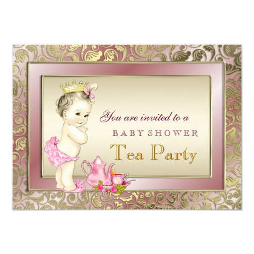 Elegant Blush Pink Girls Tea Party Baby Shower Invitations